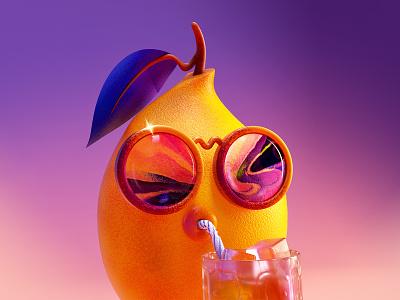 Cool Lemon cool lemon character design fruit lemon illustration c4d 3d