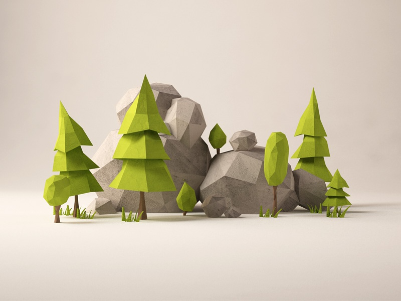 Forest bits 3d c4d low poly forest trees rocks shire
