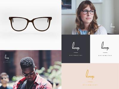 Loop Optometry Brand c4d 3d eyes vision optics optometrist logo hand lettering identity brand branding