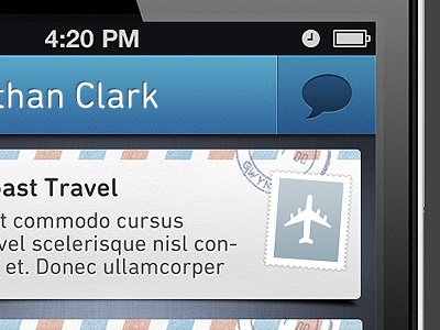 Communication iPhone App iphone app ui blue buttons texture stamp mail