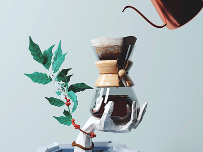 Brew Hand octane c4d hand chemex pour over beans plant coffee illustration 3d