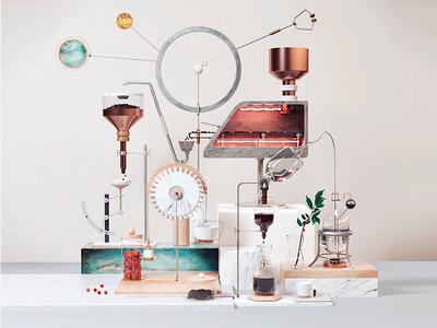 Coffee Machine art beans pour over machine coffee octane c4d illustration 3d