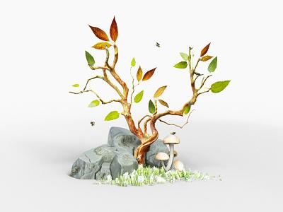 Lil Tree forest rocks outdoors mushrooms leaves illustration foliage tree c4d 3d