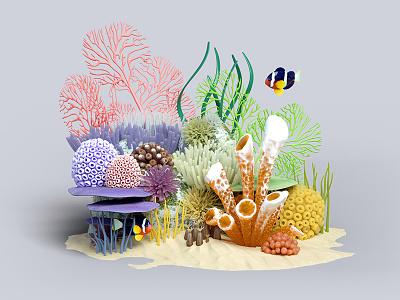 Under the sea bits seaweed fish illustration creatures sea ocean coral c4d 3d