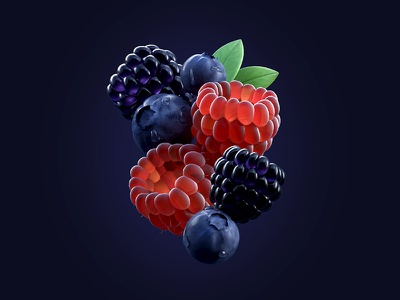 Fresh Fruits fresh fruits blueberry blackberry raspberry fruit illustration c4d 3d