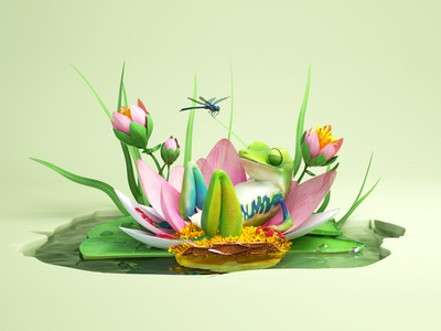 Sleeping Frog cross section still life flowers dragon fly lily pad frog animal illustration c4d 3d