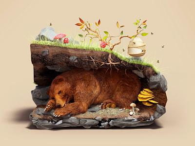 Sleeping Bear still life underground beehive cave mammal bear animal illustration c4d 3d