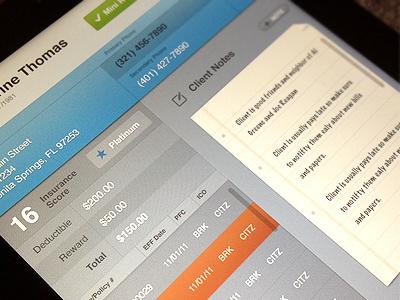 Insurance iPad App ipad ui iphone nav bar list notes gray red blue green silver columns
