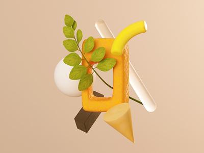 Simple Compo 2 warm yellow primitives shapes iphone illustration c4d 3d