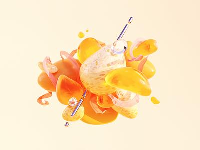 Summer Vibes blobs vibes summer yellow texture illustration c4d 3d
