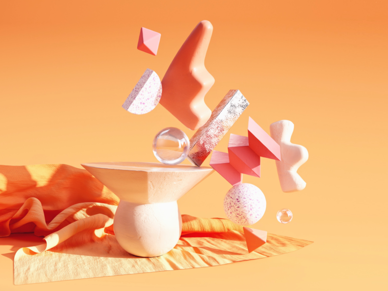 Warm Vibes summer warm colors stilllife clothes objects orange warm illustration c4d 3d