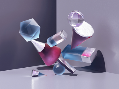 Cascade textures pink and blue stilllife simple shapes objects illustration c4d 3d