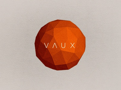 VAUX Identity logo polygon low poly orange vaux