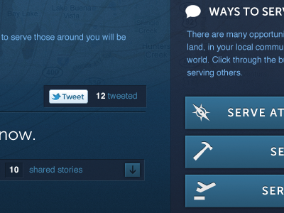 Serve Others Page blue ui buttons