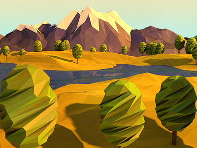 Geo Field 3d low poly geo geometry c4d illustration field story