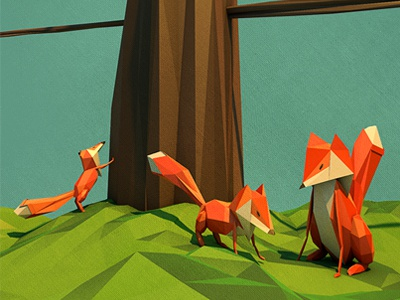 Foxy Family 3d c4d polygon low poly tree fox fox family illustration experiment