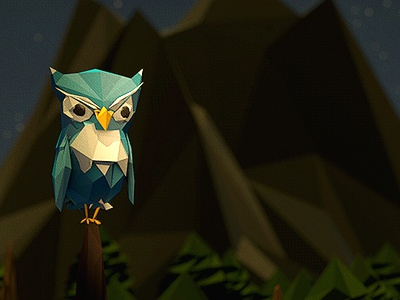Poly-Owl 3d c4d polygon low poly tree owl perch illustration