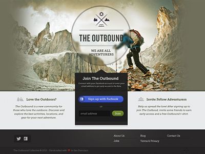 Outbound Dribbble web design layout buttons hiking outdoors icons website splash page home page