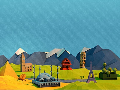 Poly City 3d c4d polygon low poly city interests illustration mountains world culture landmarks