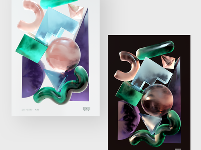 UXU 2019 Posters vibes event shapes print poster illustration c4d 3d