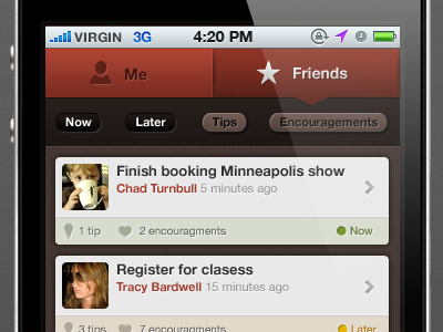 App UI red buttons iphone ui