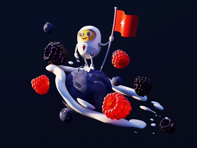Yogurt Dude, leading the charge alien space fruit character kids branding yogurt illustration c4d 3d