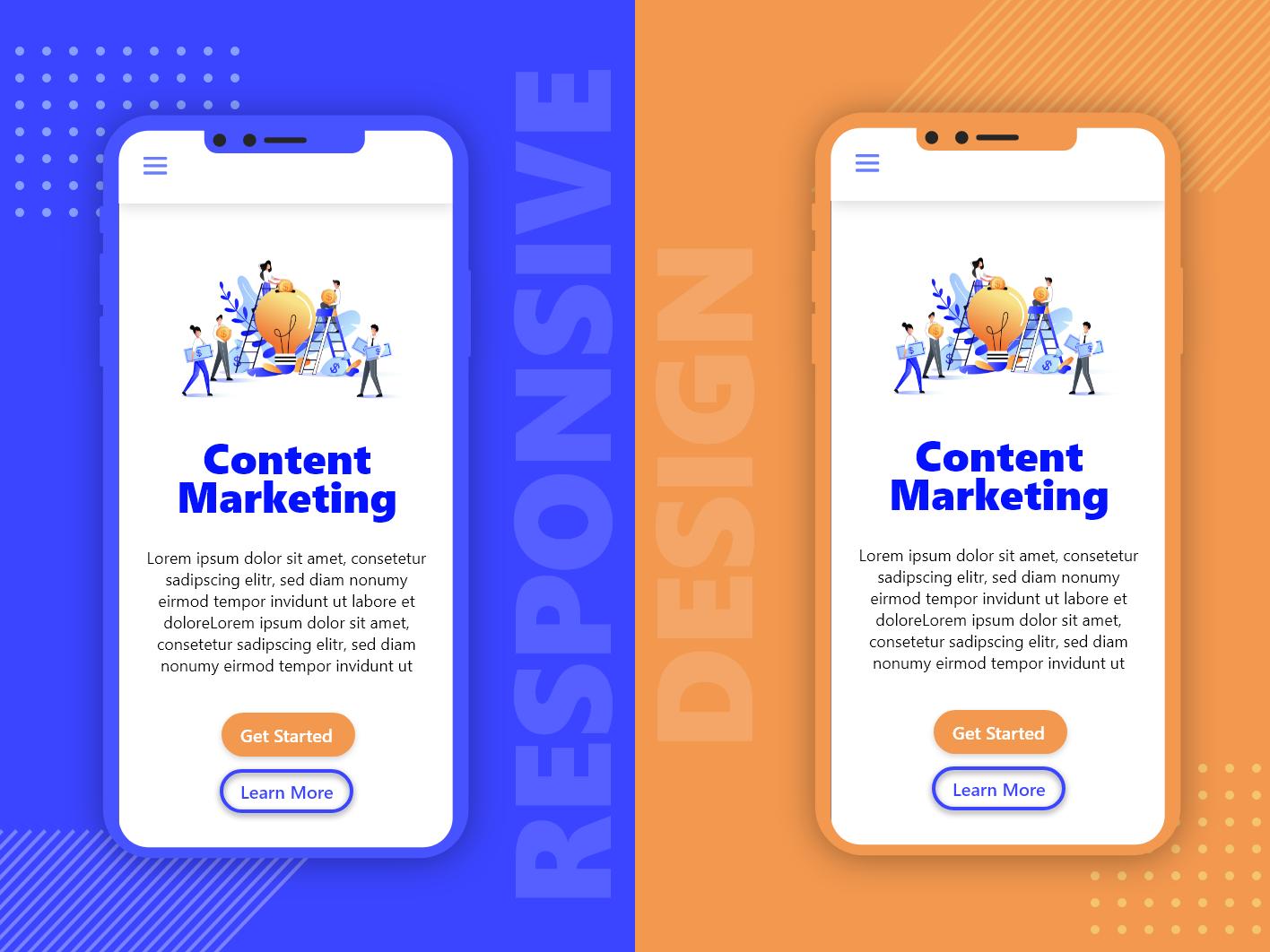 Mobile View Concept Of A Content Marketing Website illustration damilola emmanuel akinosun ui designer web designer ui ux ux ui mockup mobile website web
