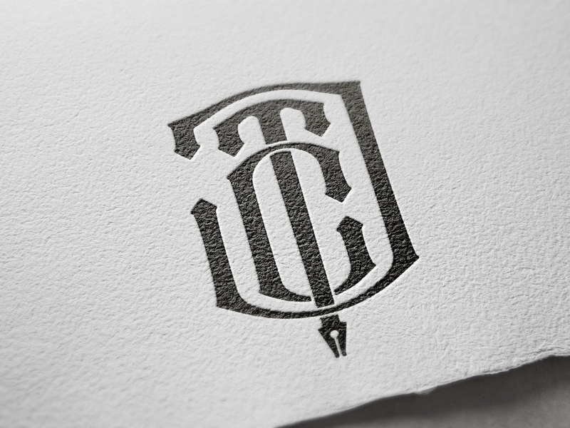 CTJ stamp pen tool pen monogram vector typography logo branding design