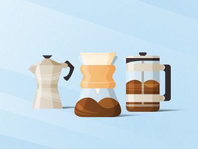 My Favorite Home Brew Methods wake up illustration moka chemex moka pot french press coffee
