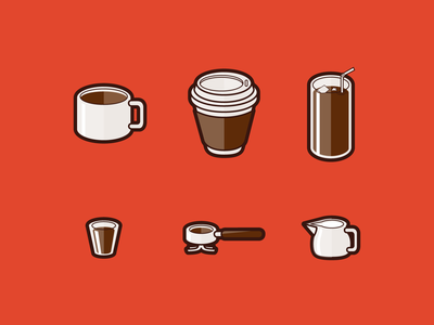 Coffee Icons Dribbble coffee mug iced coffee latte espresso caiffeine coffee ui character design design icon