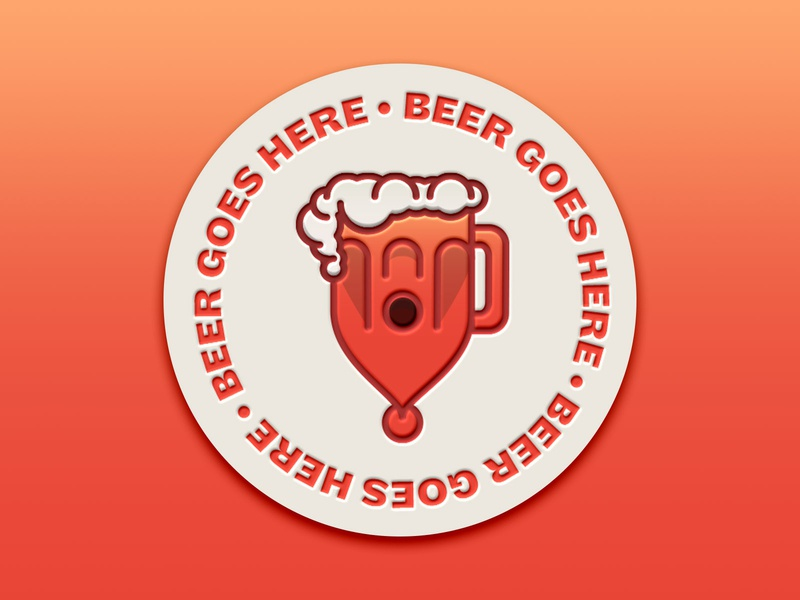 🍺Beer Goes Here 🍺 vector icon typography design illustration beer sticker mule coaster