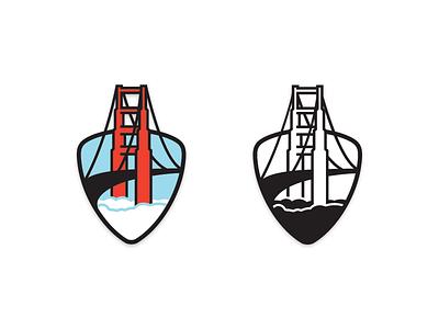 Logo for Bay Area Ducati Owners Club bridge golden gate shield motorcycle swag logo ducati badoc