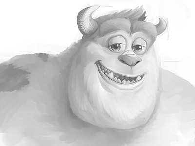 Greyscale Sulley Portrait sulley monster monsters inc disney cartoon pixar fanart portrait speedpaint wacom companion sai