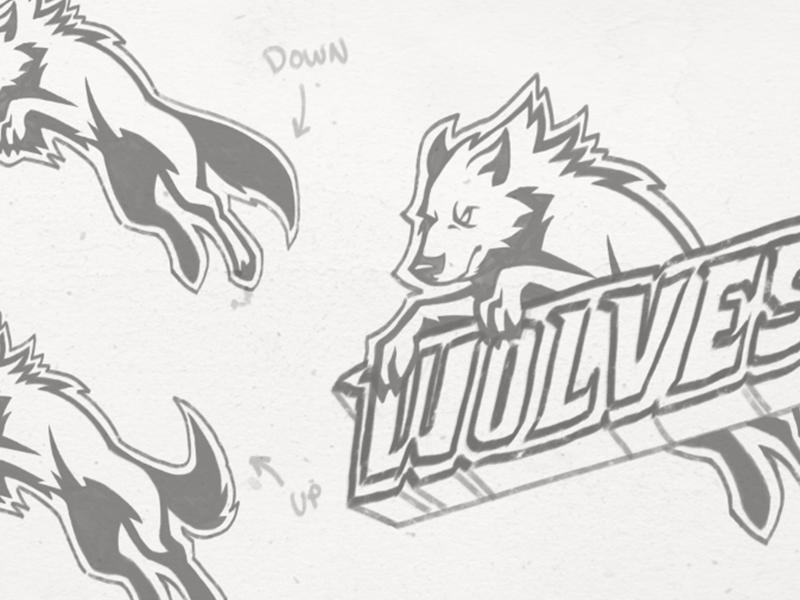 Wolves Sports Team Logo - Sketch hockey dogs canine sketch logo sports wolves