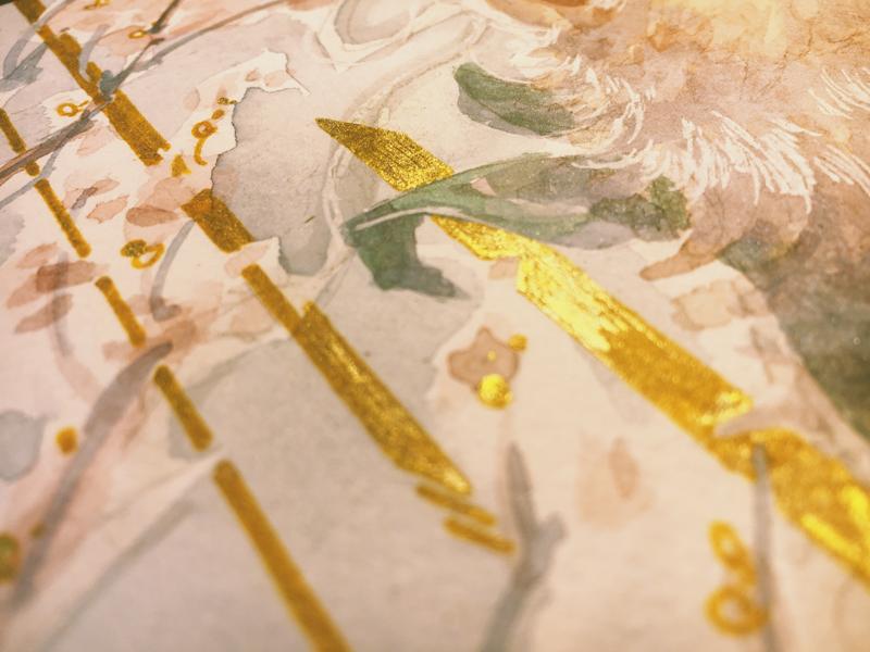 Details sakura illustrator illustration commission composition line painting detail golden gold watercolor