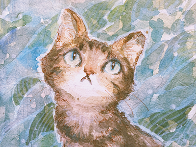 Curious cat neko meow animal painting watercolor illustration cute cat
