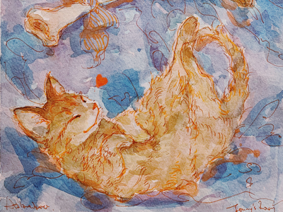 Love gato neko watercolor painting illustration cute cat