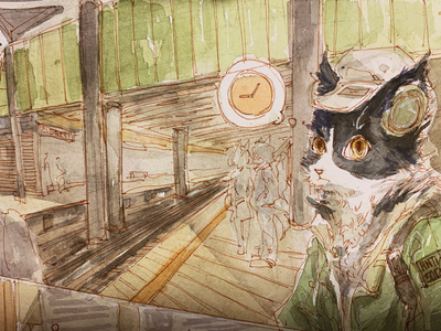 Hard working cat 2 cat subway newyork lifeinnyc design watercolor illustration
