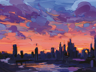 Manhattan sunset nyc manhattan city sunset color painting digital art digitalpainting illustration