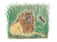 """""""The Lion and the Mouse"""" Illustration 2"""