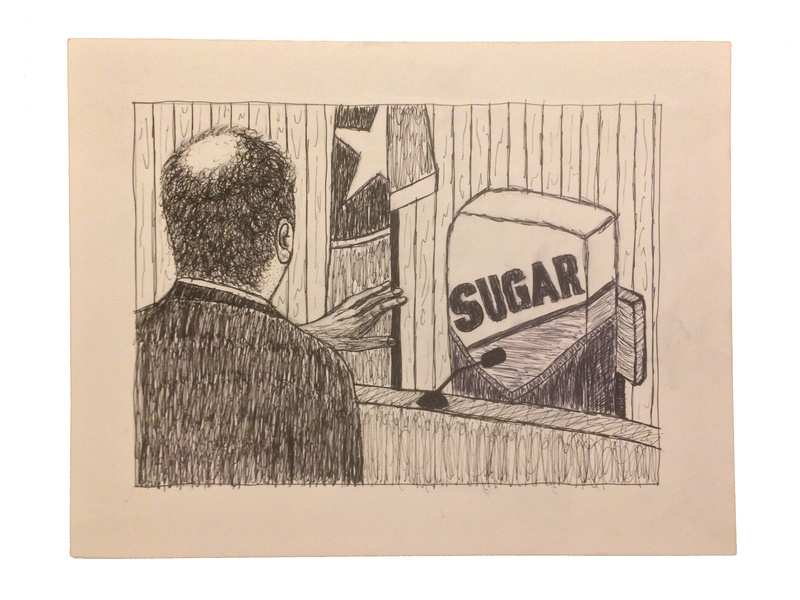"""If Sugar Is Harmless, Prove It"" Op-Ed Illustration 1 court trial courtroom sugar op-ed opinion editorial black and white"