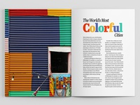 """The Worlds Most Colorful Cities"" Magazine Spread 1"