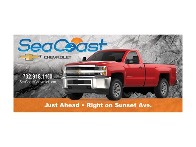 Chevrolet Dealership Billboard auto directional chevy chevrolet commercial truck red truck truck billboard out of home advertising ooh outdoor advertising out-of-home media out-of-home ad advertisement dealership dealer out of home media outdoor advertisement