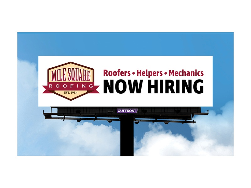 Roofing Company Billboard 1 company minimal hiring now hiring billboard out of home advertising ooh outdoor advertising out-of-home media out-of-home ad advertisement out of home media outdoor advertisement