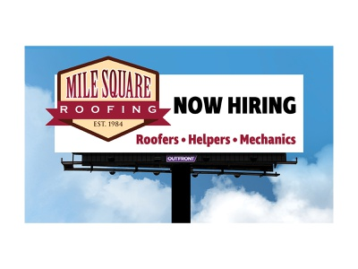 Roofing Company Billboard 3 extension outdoor advertisement out of home media advertisement ad out-of-home out-of-home media outdoor advertising ooh advertising out of home billboard now hiring hiring minimal company