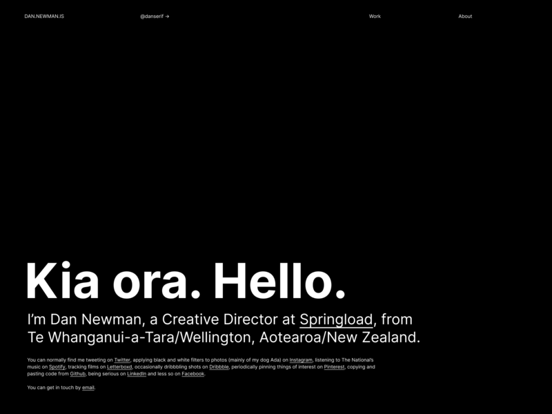 dan.newman.is portfolio black site