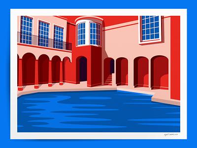Roman baths bath roman vector design vector illustration vectorart graphicdesign posters poster design poster art poster graphic design flat artwork architecture illustrator illustration art illustrations illustration vector design