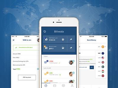Bitwala App design banking bitcoin payments branding mobile money transfer ui app