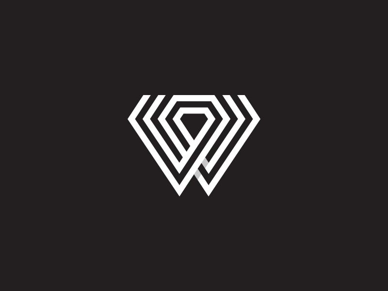 W+Diamond2 diamond jewelry jewelery w typography ui letterform character letter line monogram flat mark vector identity symbol logo branding design icon
