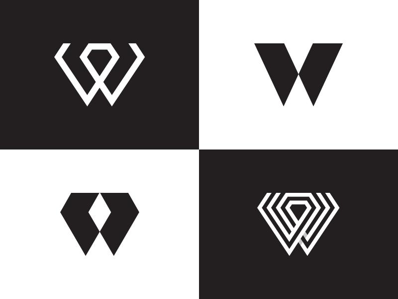 W+Diamond Options diamond w negative space ui typography letterform character line letter monogram flat mark vector identity symbol logo branding design icon